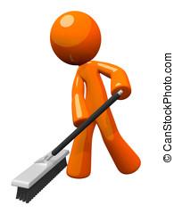 Orange Man Pushing a Broom, Sweeping - Orange man sweeping...