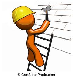Orange Man Roofer with Hammer Hard Hat and Ladder - Orange...