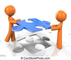 Orange Man Setting Puzzle as Team - Two orange men working...