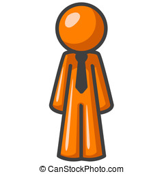 Orange Man Standing Straight - An orange man standing up...