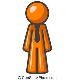 Orange Man Standing Straight - An orange man standing up...