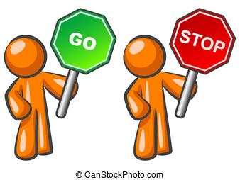 Orange Man Stop and Go - Two orange men holding Stop and Go...
