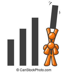 Orange Man Teamwork in Sales - Two orange men teaming up to...
