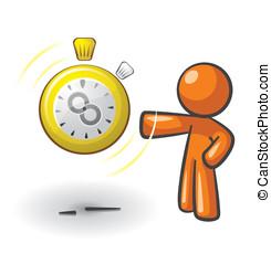 Orange Man Time Saver - Orange Man with a clock that has an...