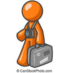 Orange Man Tourist - An orange man tourist carrying his...