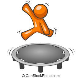 Orange Man Trampoline - An orange man having fun jumping on...