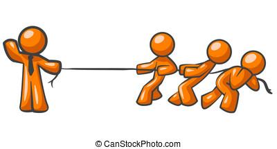 Orange Man Tug of War - An orange man holding a rope while...