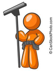 Orange Man Window Cleaner - An orange man holding a squeegee...