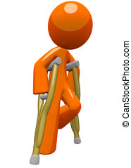 Orange Man with Crutches Moving About - An orange man with...