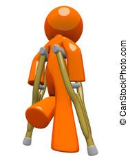 Orange Man with Crutches Rear View