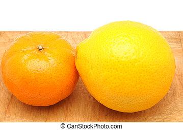 orange, mandarin, découpage, citron, planche