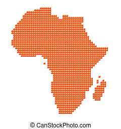 orange map of Africa made of pixels