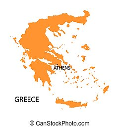 orange map of Greece
