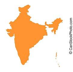 orange map of India