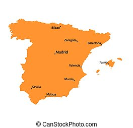 Orange map of Spain
