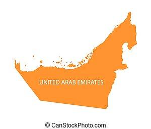 orange map of United Arab Emirates