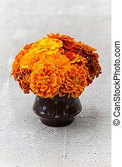 Orange marigold flowers in a vase with polka dot