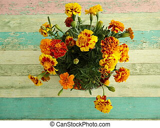 Orange Marigolds in a Vase View from Above