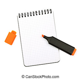 Orange marker on notepad. Isolated on white background
