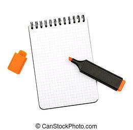 orange, markierung, notizblock