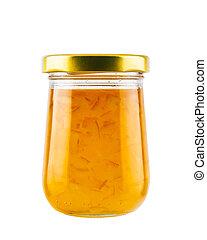 Orange marmalade jam in glass jar isolated on white background