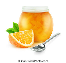 Orange marmalade in a jar isolated on white with clipping...