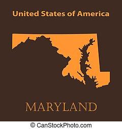 Orange Maryland map - vector illustration.