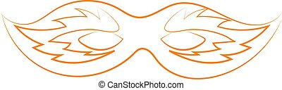 Orange mask drawing, illustration, vector on white background.