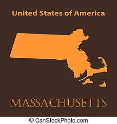 Orange Massachusetts map - vector illustration.
