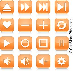 Orange media sign rounded square icon web button