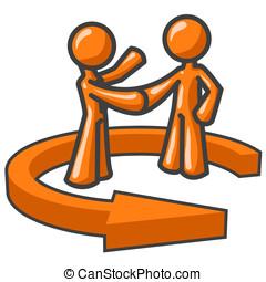 Orange Men Shaking Hands - Two orange men shaking hands,...
