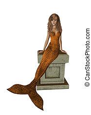 Orange Mermaid Sitting On A Pedestal - Orange mermaid...