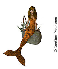 Orange Mermaid Sitting On A Rock