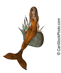 Orange Mermaid Sitting On A Rock