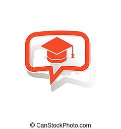 orange, message, autocollant, remise de diplomes