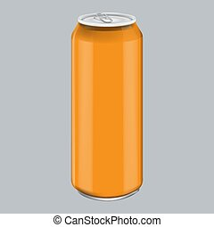 Orange Metal Aluminum Beverage Drink. Mockup for Product Packaging. Energetic Drink Can 500ml, 0,5L