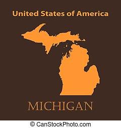 Orange Michigan map - vector illustration.