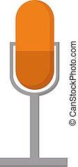 Orange microphone, illustration, vector on white background.