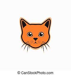 orange, mignon, chat, logo, simple, type caractère drôle, -