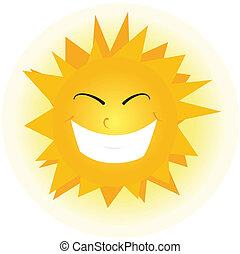 orange, mignon, face., heureux, soleil