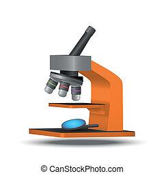 orange, mikroskop, vektor