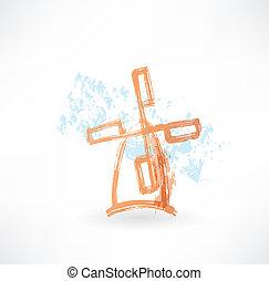 Orange mill grunge icon
