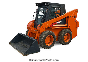 Orange mini wheel excavator - Orange wheel mini excavator...