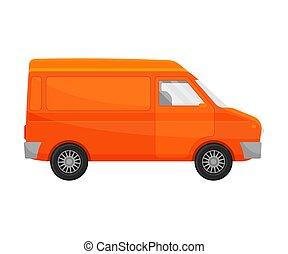 Orange minivan. Vector illustration on a white background.