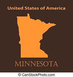 Orange Minnesota map - vector illustration.
