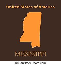 Orange Mississippi map - vector illustration.