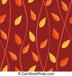 orange, modèle, feuilles, seamless, fond