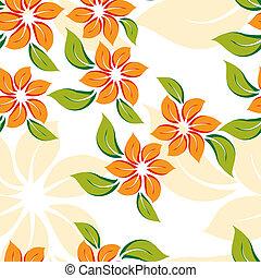 orange, modèle, fleurs, floral, seamless