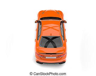 Orange modern fast car - top down view