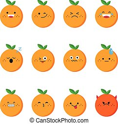 Orange modern flat emoticon set